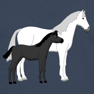 horse and foal white and black T-shirts - Herre premium T-shirt med lange ærmer
