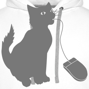 PC mouse eating cat  T-Shirts - Men's Premium Hoodie