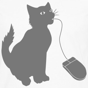 PC mouse eating cat  T-Shirts - Men's Premium Longsleeve Shirt