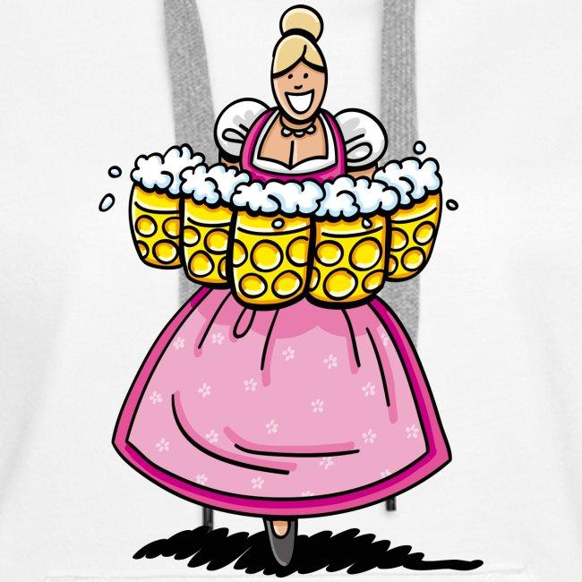 Damen T-Shirt Oktoberfest Bedienung Maßkrüge