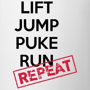 Lift, jump, puke, run - REPEAT T-shirts - Mugg