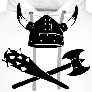Viking Helmet with ax and mace  T-Shirts - Men's Premium Hoodie