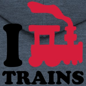 I Love Trains T-Shirts - Men's Premium Hooded Jacket