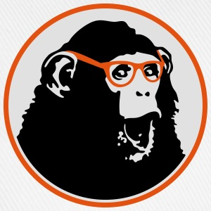 Nerdy Ape with Glasses Buttons - Baseball Cap