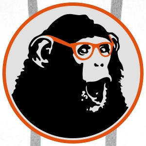 Nerdy Ape with Glasses Buttons - Men's Premium Hoodie