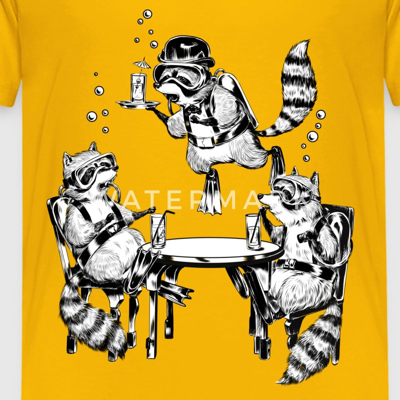 Racoon Underwater Gin Party T-Shirts - Kinder Premium T-Shirt