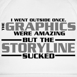 I went outside: graphics amazing, stroyline sucked Nerd T-Shirts - Baseballkappe