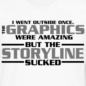 I went outside: graphics amazing, stroyline sucked Nerd T-Shirts - Männer Premium Langarmshirt