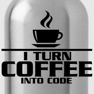 I turn coffe into code Camisetas - Cantimplora
