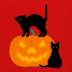 cat and pumpkin T-skjorter - Premium langermet T-skjorte for kvinner