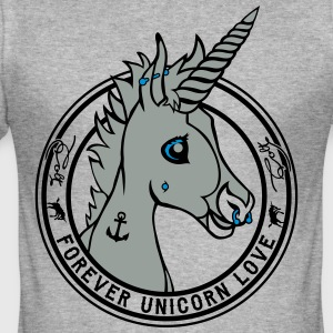 Gråmelert Colt - Unicorn Love (onwhite) Gensere - Slim Fit T-skjorte for menn