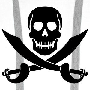 Skull Pirate Logo T-Shirts - Men's Premium Hoodie