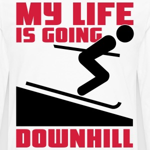 Skiing: My lie is going downhill T-shirts - Mannen Premium shirt met lange mouwen