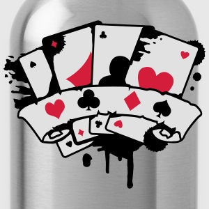 four playing cards and a banner Polo Shirts - Water Bottle