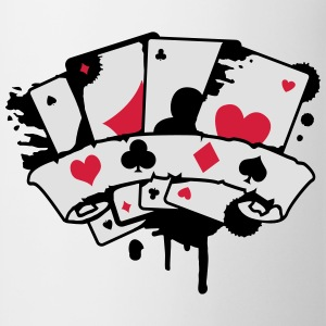 four playing cards and a banner Hoodies & Sweatshirts - Mug