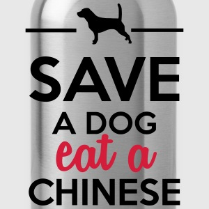 Dining - Save a Dog eat a Chinese T-Shirts - Water Bottle