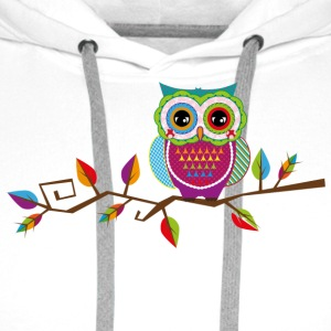 Owl sitting on a branch Caps & Hats - Men's Premium Hoodie