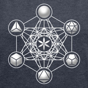 Metatrons Cube, Platonic Solids, Sacred Geometry Hoodies & Sweatshirts - Women's T-shirt with rolled up sleeves