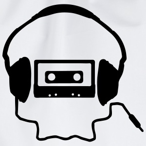 Tape Headphones and a Skull T-Shirts - Drawstring Bag