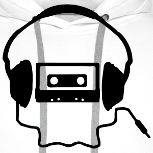 Tape Headphones and a Skull T-Shirts - Men's Premium Hoodie