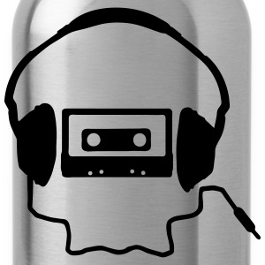Tape Headphones and a Skull T-Shirts - Water Bottle