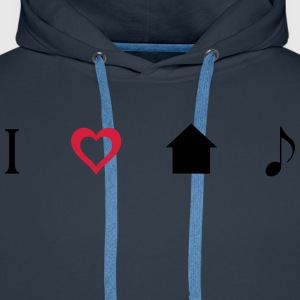 I love House Music Icons Tee shirts - Sweat-shirt à capuche Premium pour hommes