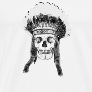 skull indian headdress - skalle Knappar - Premium-T-shirt herr