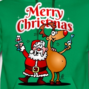 Merry Christmas - Santa Claus and his reindeer T-Shirts - Men's Premium Hoodie