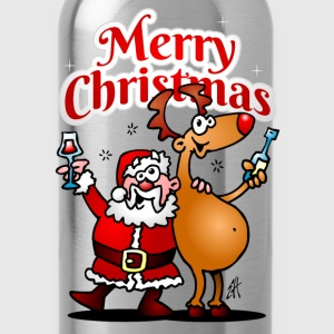 Merry Christmas - Santa Claus and his reindeer Shirts - Water Bottle