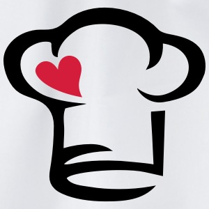 Chef's hat heart, cook, kitchen, chef, restaurant  Aprons - Drawstring Bag