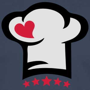Chef hat heart, 5 stars, cook, kitchen, restaurant Kookschorten - Mannen Premium shirt met lange mouwen