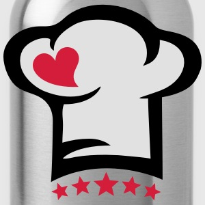 Chef hat heart, 5 stars, cook, kitchen, restaurant Camisetas - Cantimplora