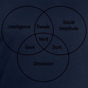 Geek Nerd Dork Venn Diagram T-Shirts - Men's Sweatshirt by Stanley & Stella
