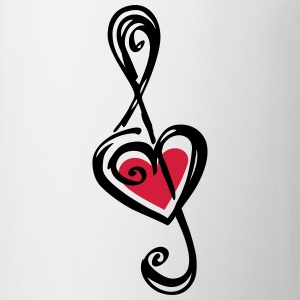 Heart clef, classic, treble, note, music, violin Camisetas - Taza