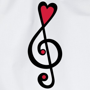 Music, heart notes, classic, treble clef, violin T - Drawstring Bag