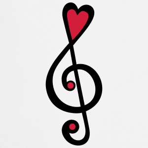 Music, heart notes, classic, treble clef, violin T-shirts - Forklæde