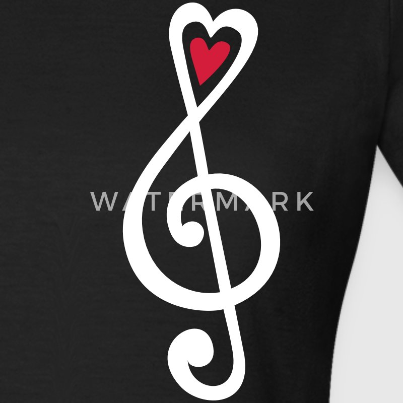 Music, heart notes, classic, treble clef, violin T-shirts - T-shirt dam