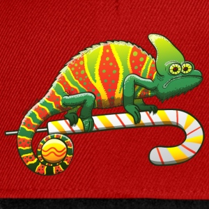 Christmas Chameleon on a Candy Cane Hoodies & Sweatshirts - Snapback Cap