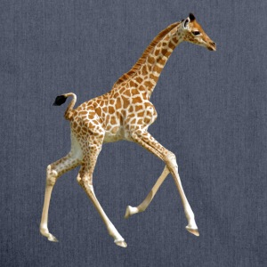 Isolated baby giraffe running - Sac bandoulière 100 % recyclé
