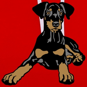 Dobermann Pinscher Black Puppy T-Shirts - Contrast Colour Hoodie