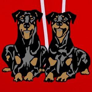 Dobermann Pinscher Black Down Hanging Ears T-Shirts - Contrast Colour Hoodie