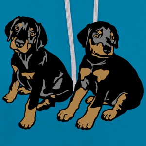 Dobermann Pinscher Black Sitting Puppies  T-shirts - Kontrastluvtröja