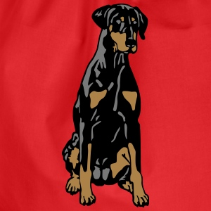 Dobermann Pinscher Black Sit T-Shirts - Drawstring Bag