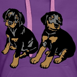 Dobermann Pinscher Black Sitting Puppies  T-Shirts - Women's Premium Hoodie