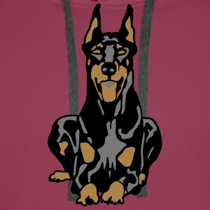 Dobermann Pinscher Black Down Standing Ears T-Shirts - Men's Premium Hoodie
