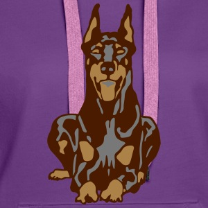 Dobermann Pinscher Brown Down Standing Ears T-Shirts - Women's Premium Hoodie
