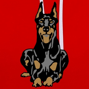 Dobermann Pinscher Black Down Standing Ears T-shirts - Kontrastluvtröja