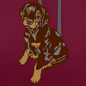 Dobermann Pinscher Brown Sitting Puppy T-Shirts - Contrast Colour Hoodie