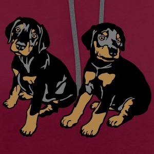 Dobermann Pinscher Black Sitting Puppies  T-Shirts - Contrast Colour Hoodie