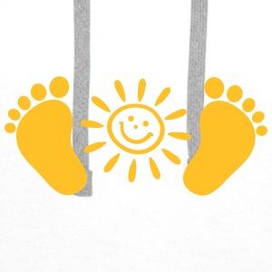 Baby feet, sun, baby, gift, birth, Foot, mom, dad, Accessories - Men's Premium Hoodie